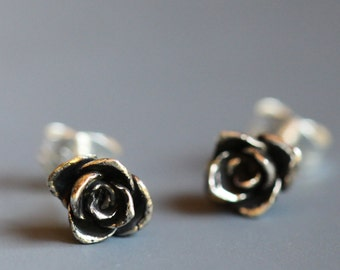 Tiny flower earrings, sterling silver roses, ready to ship