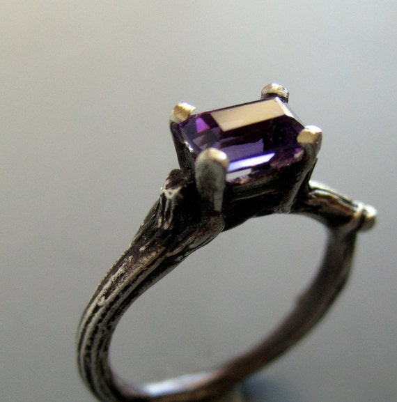 Twig solitaire engagement ring, sterling silver and amethyst solitaire, made in your size, february birthstone