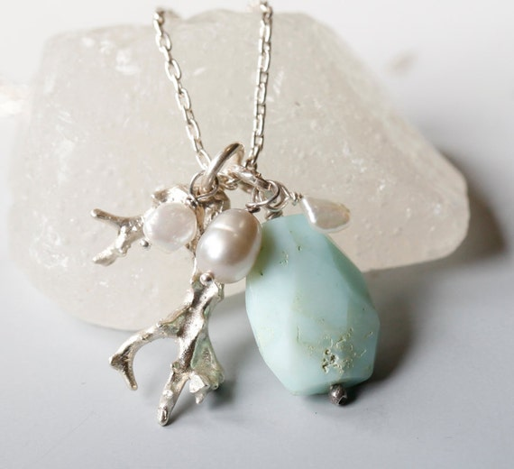 Coral and Peruvian opal sterling silver necklace, October birthstone, ready to ship