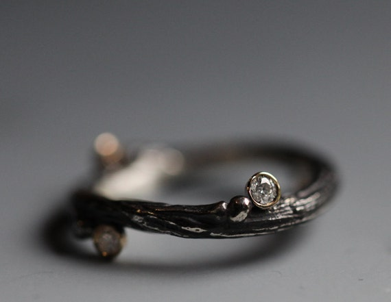 Wedding band, twig with diamond, sterling silver, 14k yellow gold
