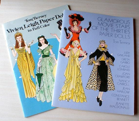 Vintage Paper Dolls, Tom Tierney, Vivien Leigh, Glamorous Movie Stars