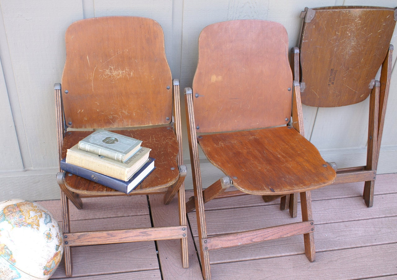Reserve 1934 Wood Folding School Chairs Vintage Seating