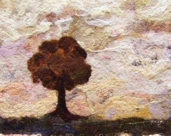 No.595 Lone Tree on Peach - Needlefelt Art XLarge - Wool Painting
