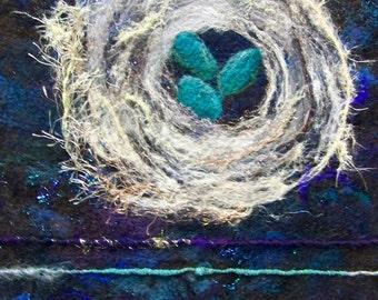 No.625 Blue Birds Nest - Needlefelt Art XLarge