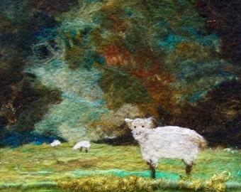 No.601 Sheep Field - Needlefelt Art XLarge