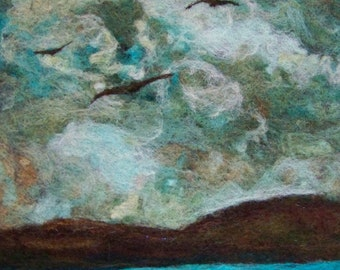 No.730 Evening Flight - Needlefelt Art XLarge