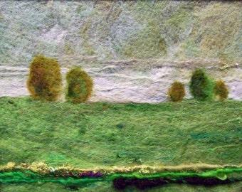 No.342 Green Field - Needlefelt Art Large