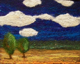Sale! No.349 Bright Blues - Needlefelt Art Large