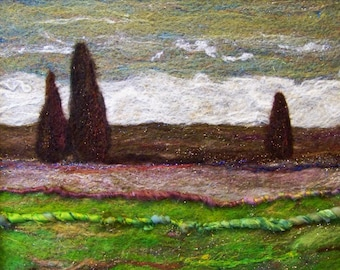 No.469 Green Fields - Needlefelt Art XL