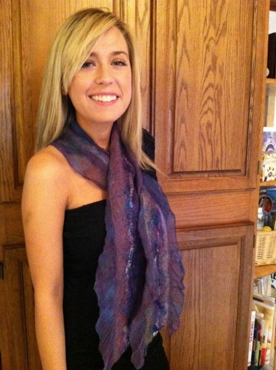 No.5 Nuno felted scarf purple