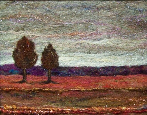 No.402 Warm Field Too - Needlefelt Art XLarge