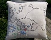 Vintage Quilt Block Baby Pillow 2 Pigs