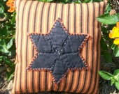 Primitive Halloween Pillow Black Quilt Star on Orange Black Ticking