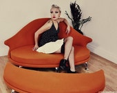 Havana Love seat and ottoman. Mid Century Modern Design by J. Sebastian for Lunar Lounge