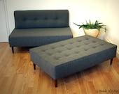 BOKZ  Button Top Sofa Set set - love seat and sofa bench   Mid Century Modern Design