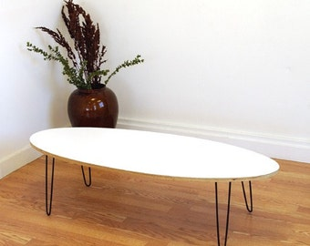Eliptikal  coffee table formica laminated top - Eames Era Mid Century Modern
