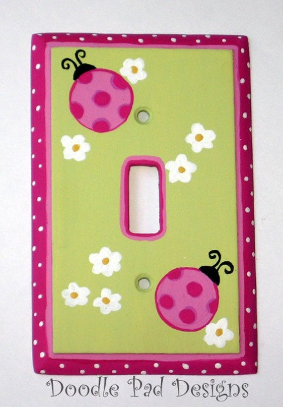 Hand Painted Pink Polka Dot Ladybug Switch Plate