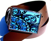 CLEARANCE. Woman's Belt Buckle.  Bhindi in Star Blue. The ORIGINAL Waist Candy.