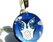Owl Glass Charm for Necklace. Blue Necklace. Mr Owl Pendant in Blueberry. Bird Owl Pendant FREE Chain.