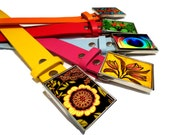 Colorful Leather Belt for Buckle: Red, Yellow, Orange, Blue, Pink Belts