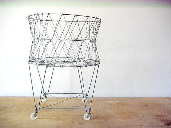 Vintage Wire Laundry Basket