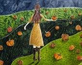 Gathering pumpkin patch, Original Artwork, Fabric on Wood art, Fall autumn rustic
