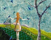 Gathering Songbirds, Spring pastel, blue birds, birdcage, 8.5 x 11 Archival Reproduction Print