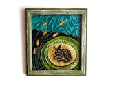 Bedded Down, spotted baby fawn resting, rustic woodland, framed, Original Artwork,  Fabric on Wood