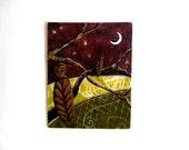 Owl,  Original, Fabric on Wood, Moonlight Games
