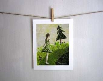 Gathering Green, woodland rustic girl,  archival reproduction print 8.5 x 11