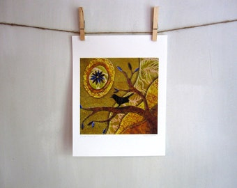 Purple Flower Sun, sunshine summer bird, 8.5 x 11 Archival Reproduction Print