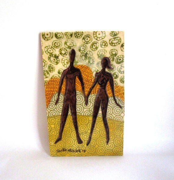 Together - Original Fabric on Wood art