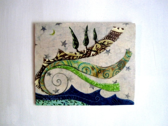 RESERVED for Michiko - Layers of Earth - Original Fabric on Wood art