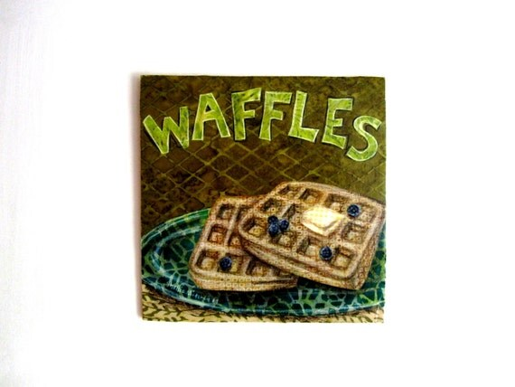 Waffles, kitchen breakfast, Original Fabric on Wood art