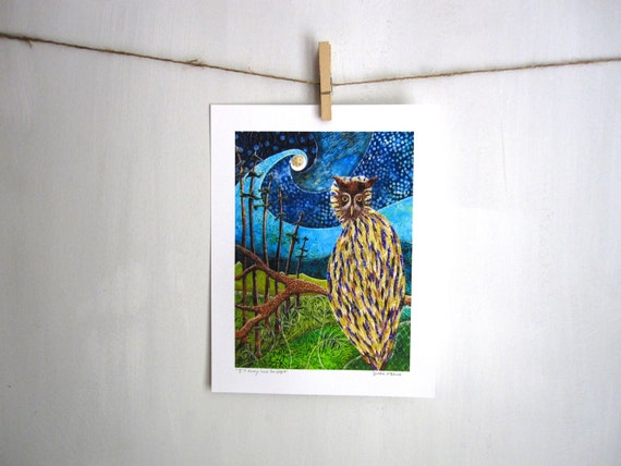 Owl forest night, I will always have the Night, 8.5 x 11 Archival Reproduction Print