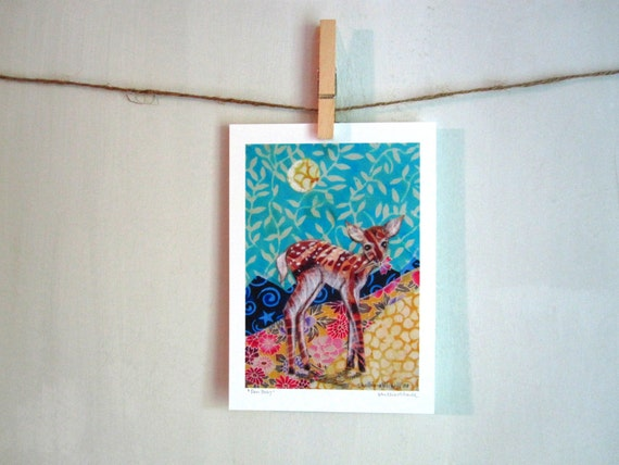 Deer Baby,  Archival Reproduction Print 5 x 7, woodland forest fawn spotted