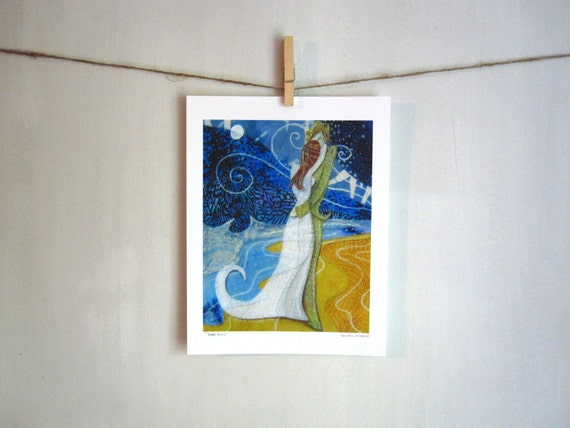 Beach Lovers, wedding,  Archival Reproduction Print 8.5 x 11