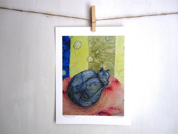 Grey Kitty Slumber,  Archival Reproduction Print 8.5 x 11