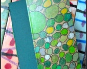 Small, Unique, Hand-made Blank book: Green Bubbles