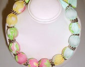 Fabric Choker style necklace made with Lilly Pulitzer Fabric