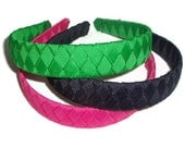 Woven Braided Headband with Grosgrain Ribbon