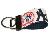 Tiny Key Ring Chain Fob made with New York Yankees Baseball fabric