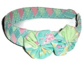 Woven Ribbon Headband with Lilly Pulitzer Fabric Rosettes