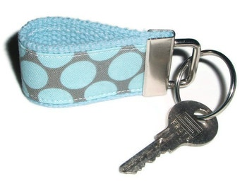 Tiny Key Ring Chain Fob made with Amy Butler Dots Fabric