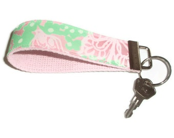 Wristlet Key Ring Chain  made with Vintage Lilly Pulitzer Fabric