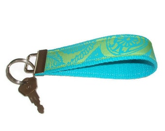 Wristlet Key Chain Fob Ring made with Vintage  Lilly Pulitzer Fabric