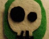 Simple Skull On Grass Green Oval