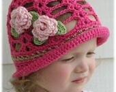Lacy Cloche with Rose Clips Crochet Pattern