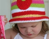 Strawberry Rolled Brim Striped Hat Crochet Pattern..pdf ebook