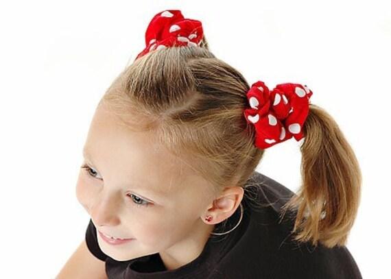 A Pair of Minnie Dot Fabric Hair Scrunchies for Girls or Women